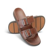 The Men's Leather Plantar Fasciitis Slide Sandal