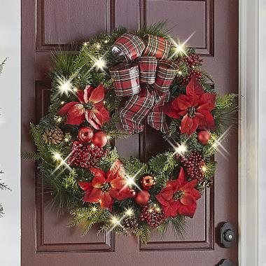 The Cordless Prelit Poinsettia And Ribbon Holiday Trim