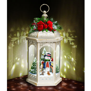 The Thomas Kinkade Illuminated Snowman Lantern