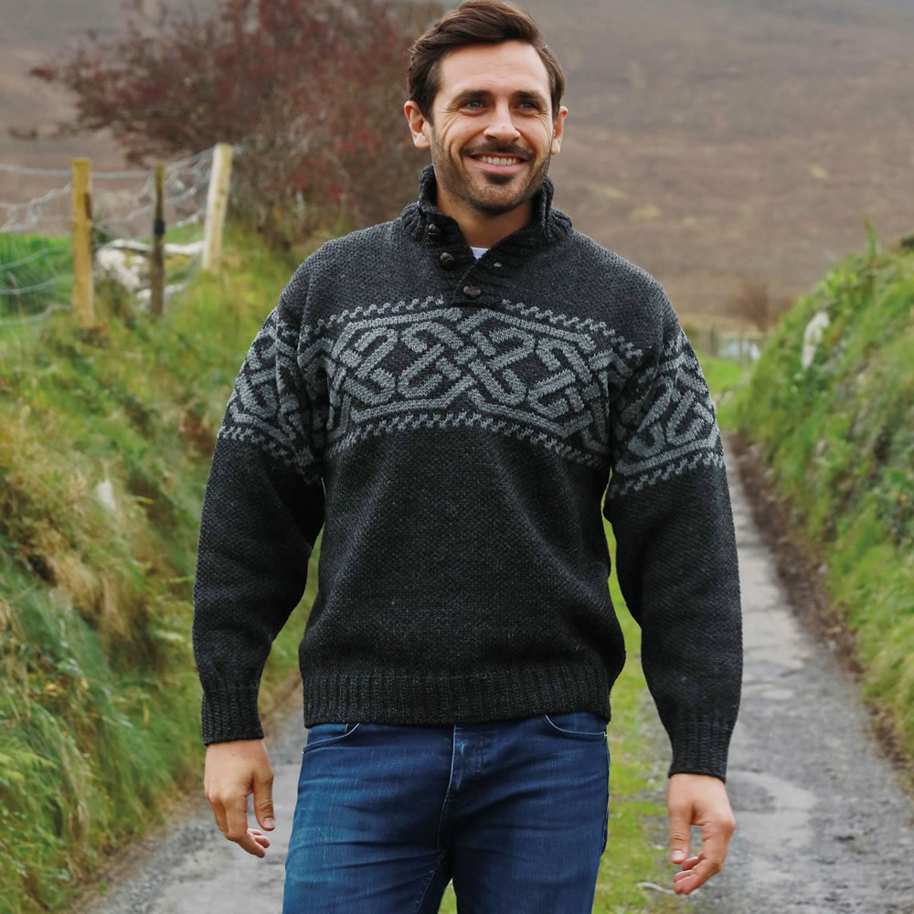 Made in Ireland Pure Wool Celtic Knot Irish Wool Sweater for Men A271-246