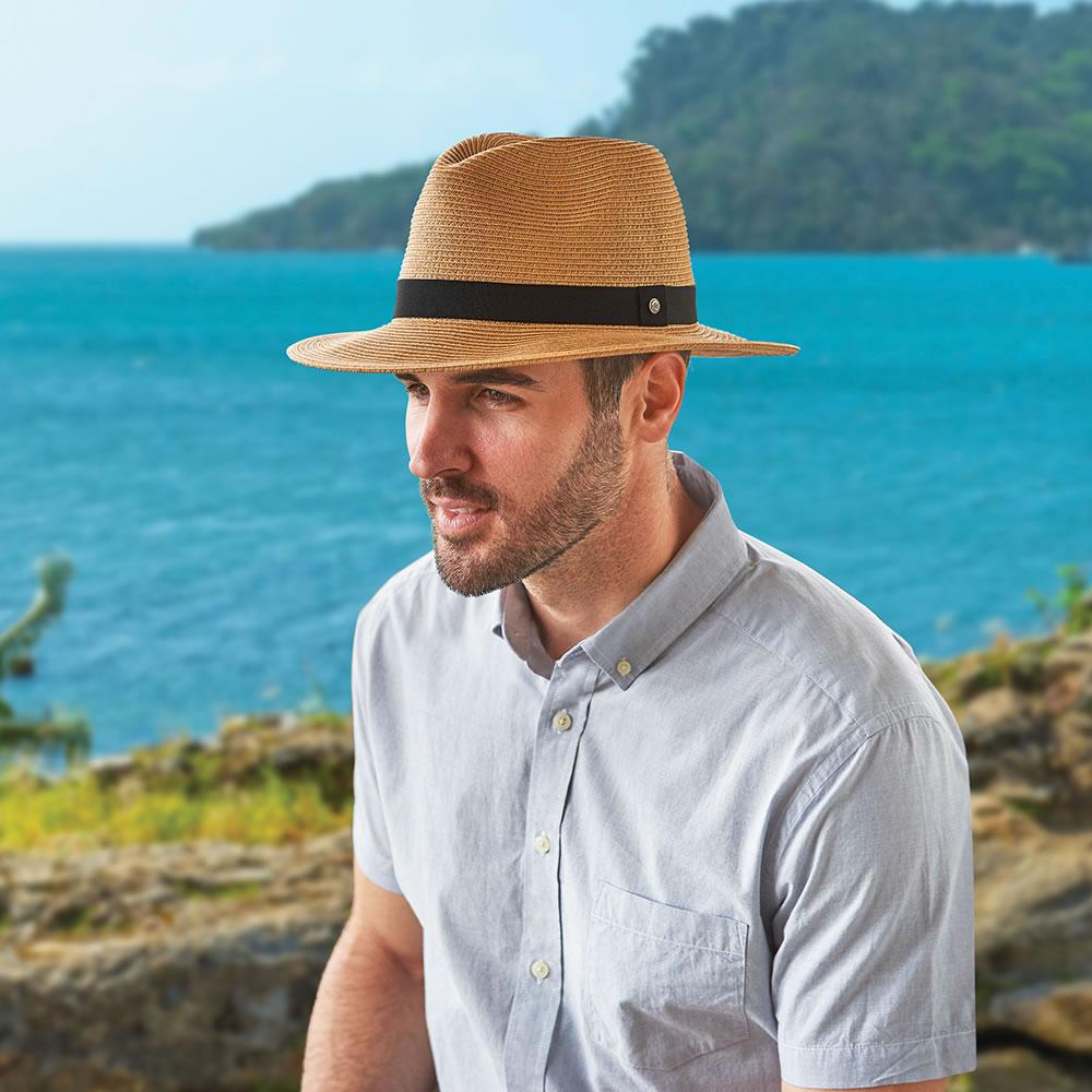 2655def1fbd2 The Sun Blocking UPF 50+ Panama Hat - Hammacher Schlemmer