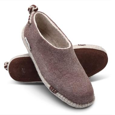 Mongolian Grey Felt Slippers