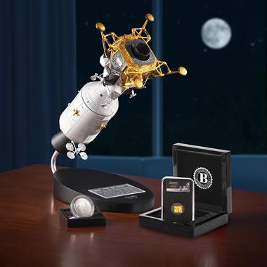 The 50th Anniversary Silver Dollar Apollo 11 Model And Genuine Artifact